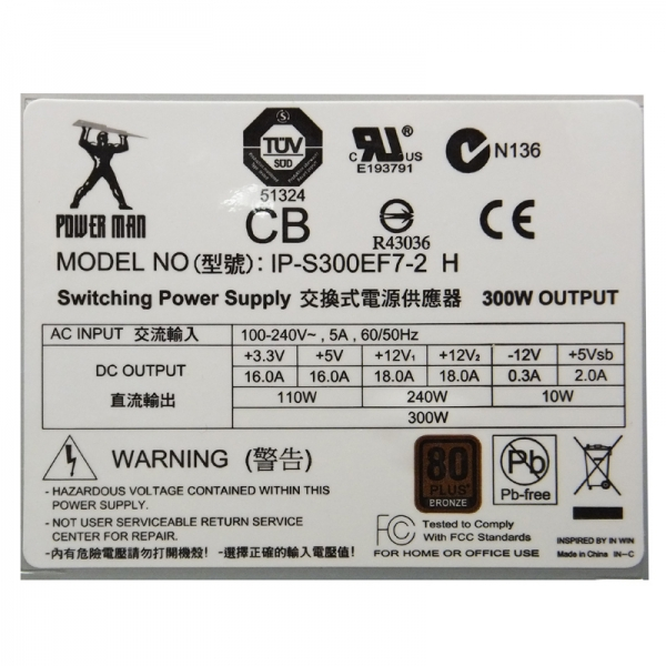 TFX電源ユニット80PLUS BRONZE IP-S300EF7-2